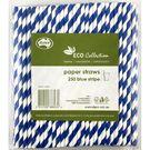 Paper Straws Blue Stripe 205mm
