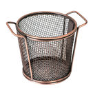 Brooklyn Round Service Basket w two handles Antique Copper