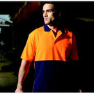Hi Vis Poly Cotton Back Polo Short Sleeve Yellow/Navy