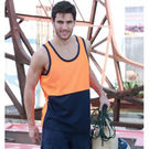 Hi Vis Poly Cotton Back Singlet Yellow/Navy