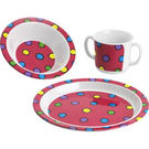 Pink Dots Childrens 3pc Dinner Set