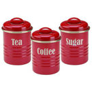 Vintage Kitchen Canisters Red Set Of 3