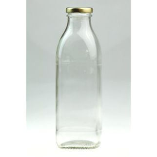 Picture of 750ml Clear Glass Rounded Square Bottle with Gold 43mm Twist Cap