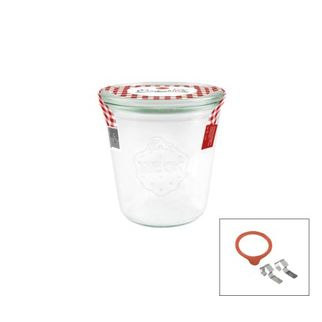 Picture of Weck Glass Jar 900 290ml Complete w/lid seal clamps