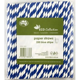 Picture of Paper Straws Blue Stripe 205mm