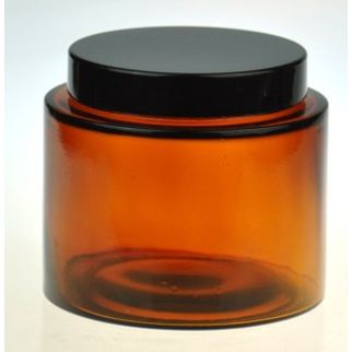 Picture of Amber Squat Glass 500ml with Black Lid