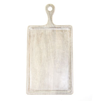 Picture of Mango Wood Serving Board Rectangular White with Handle 300 x 200mm