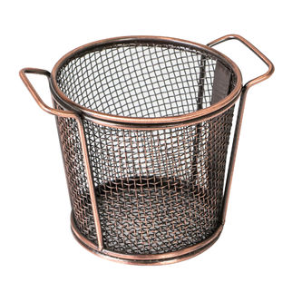 Picture of Brooklyn Round Service Basket w two handles Antique Copper