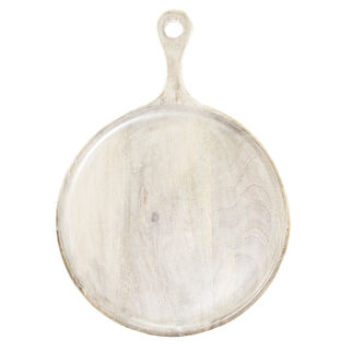 Picture of Mango wood Serving Board Round with Handle White 250mm