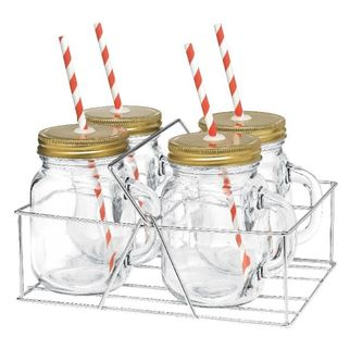 Picture of Mason Jar with handle - Candy strip straw and 4pc set in Caddy
