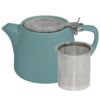 Picture of Brew Teal and White Stackable Teapot 500ml with SS Infuser and Lid