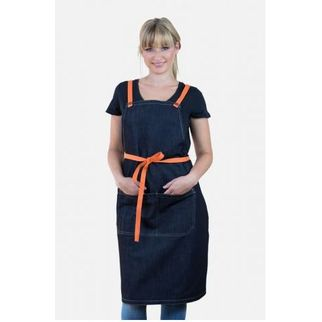 Picture of Archie Denim Bib Apron w Orange Tie