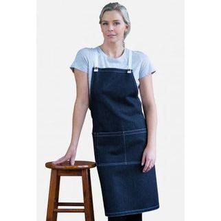 Picture of Archie Denim Bib Apron w White Tie