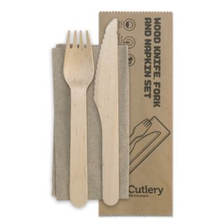 Picture of BioCutlery Knife Fork and Napkin Set Natural (ctn 400)