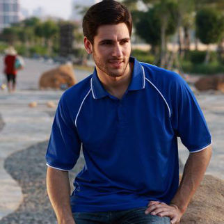 Picture of Breezeway Polo Small Sandstone/Navy