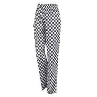 Picture of Chefs Drawstring Pants Black And White Check Printed Cotton X Large