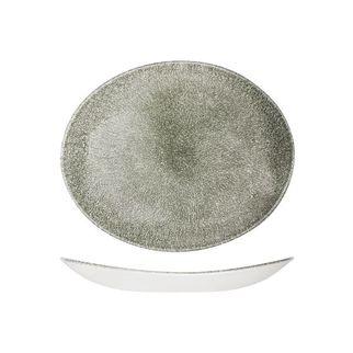 Picture of Churchill Raku Oval Coupe Plate Quartz Black 270 x 229mm