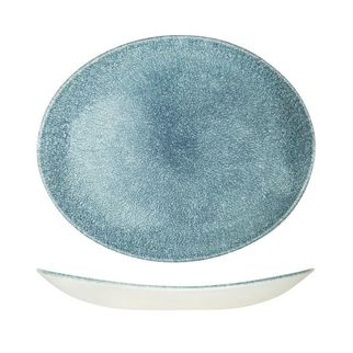 Picture of Churchill Raku Oval Coupe Plate Topaz Blue 317 x 225mm