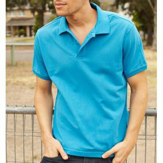 Picture of Classic Mens Polo Medium Cyan Blue