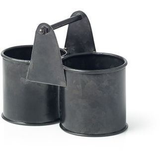 Picture of Coney Island Galvanised Black Dual Pot Caddy 140x70x70mm
