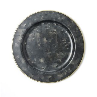 Picture of Coney Island Galvanised Black Rond Plate Wide Rim Gold 230mm