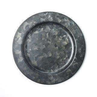 Picture of Coney Island Galvanised Black Round Plate Wide Rim 230mm