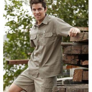 Picture of Cotton Drill Work Shirt Short Sleeve Navy Medium