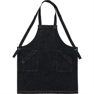 Picture of Denim Bib Apron Black Crossover with Red Stitching 86 x 100cm