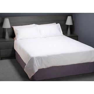Picture of Fitted Sheet Set White Hotel Quality Poly Cotton (Double)