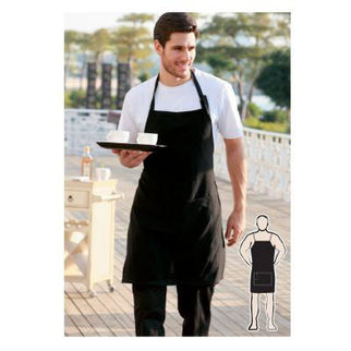Picture of Cotton Drill Full Bib Apron With Pocket Black
