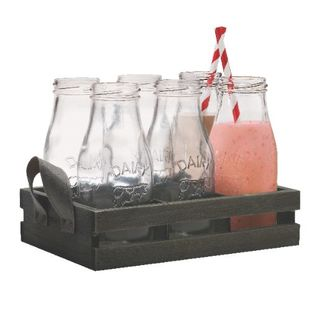 Picture of Glass Milk Bottles with Candy Stripe Straw and Tray