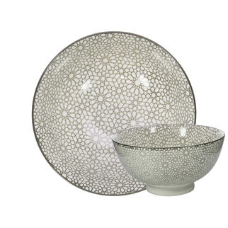 Picture of Gusta Table Tales Round Bowl Grey Mosaic 157 x 70mm
