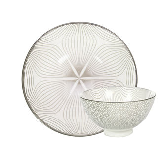 Picture of Gusta Table Tales Round Bowl Grey Swirl and Mosaic 135 x 75mm