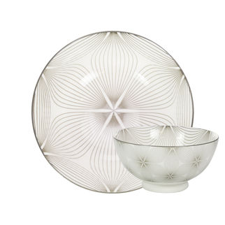 Picture of Gusta Table Tales Round Bowl Grey Wire Flower and Wire 157 x 77mm