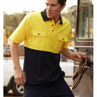 Picture of Hi Vis Cotton Jersey Polo Short Sleeve Yellow/Navy Medium