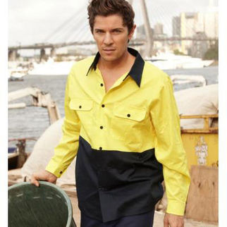 Picture of Hi Vis Cotton Twill Shirt Long Sleeve Yellow/Navy XLarge