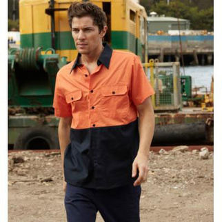 Picture of Hi Vis Cotton Twill Shirt Short Sleeve Yellow/Navy