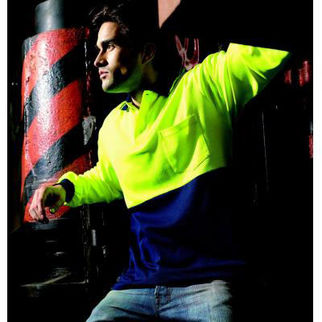 Picture of Hi Vis Poly Cotton Back Polo Long Sleeve Yellow/Navy
