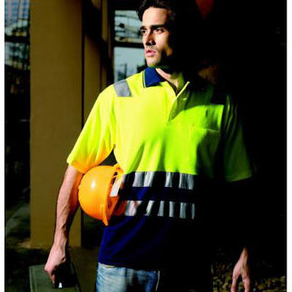 Picture of Hi Vis Poly Cotton Back Polo With Tape Short Sleeve Yellow/Navy XLarge