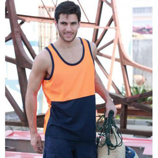 Picture of Hi Vis Poly Cotton Back Singlet Yellow/Navy Medium