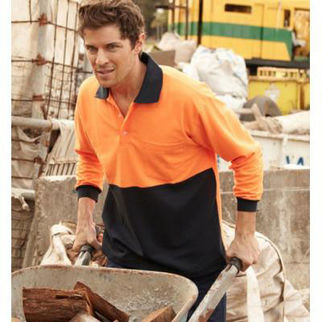 Picture of Hi Vis Poly Cotton Polo Long Sleeve Orange/Navy XXLarge