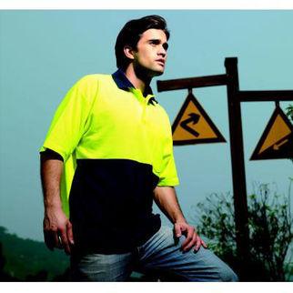 Picture of Hi Vis Poly Cotton Polo Shirt Short Sleeve Orange/Navy Medium