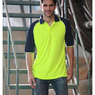 Picture of Hi Vis Raglan Sleeve Polo Fluro Yellow/Navy