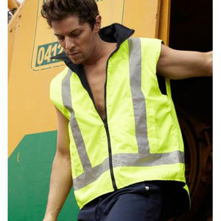 Picture of Hi Vis Reversable Vest With Reflective Tape Yellow/Navy XXLarge