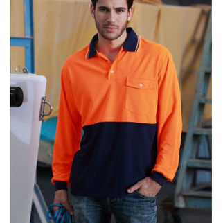 Picture of Hi Vis Safety Polo Long Sleeve Yellow/Navy XLarge