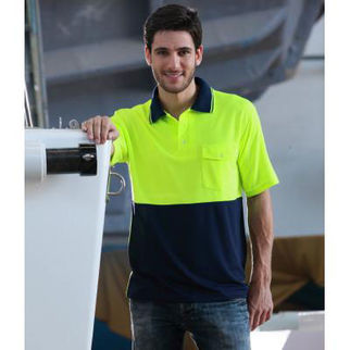 Picture of Hi Vis Safety Polo Shirt Sleeve Medium Yellow/Bottle Green