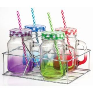 Picture of Coloured Mason Jar with handle - Candy strip straw and 4pc set in Caddy