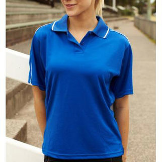 Picture of Ladies Breezeway Striped Polo Size 12 Navy/White
