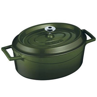 Picture of Lava Cast Iron Oval Casserole Green 290mm