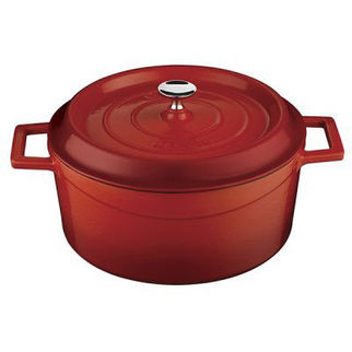 Picture of Lava Cast Iron Round Casserole Red 240mm